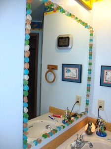 Mirror with seaglass frame